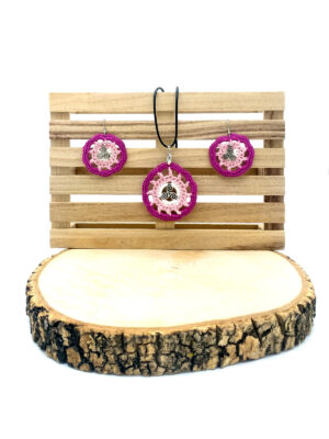 conjunto ganchillo triskel rosa